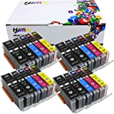 Hi Ink Compatible Ink Cartridge Replacement for Canon PGI-250XL CLI-251XL (4Black, 4Cyan, 4Magenta, 4Yellow, 4Photo Black) 20Pack Compatible With PIXMA IP7220 iX6820 MG5420 MG5422 MG5520 MG5522 MG6420 MX722 MX922