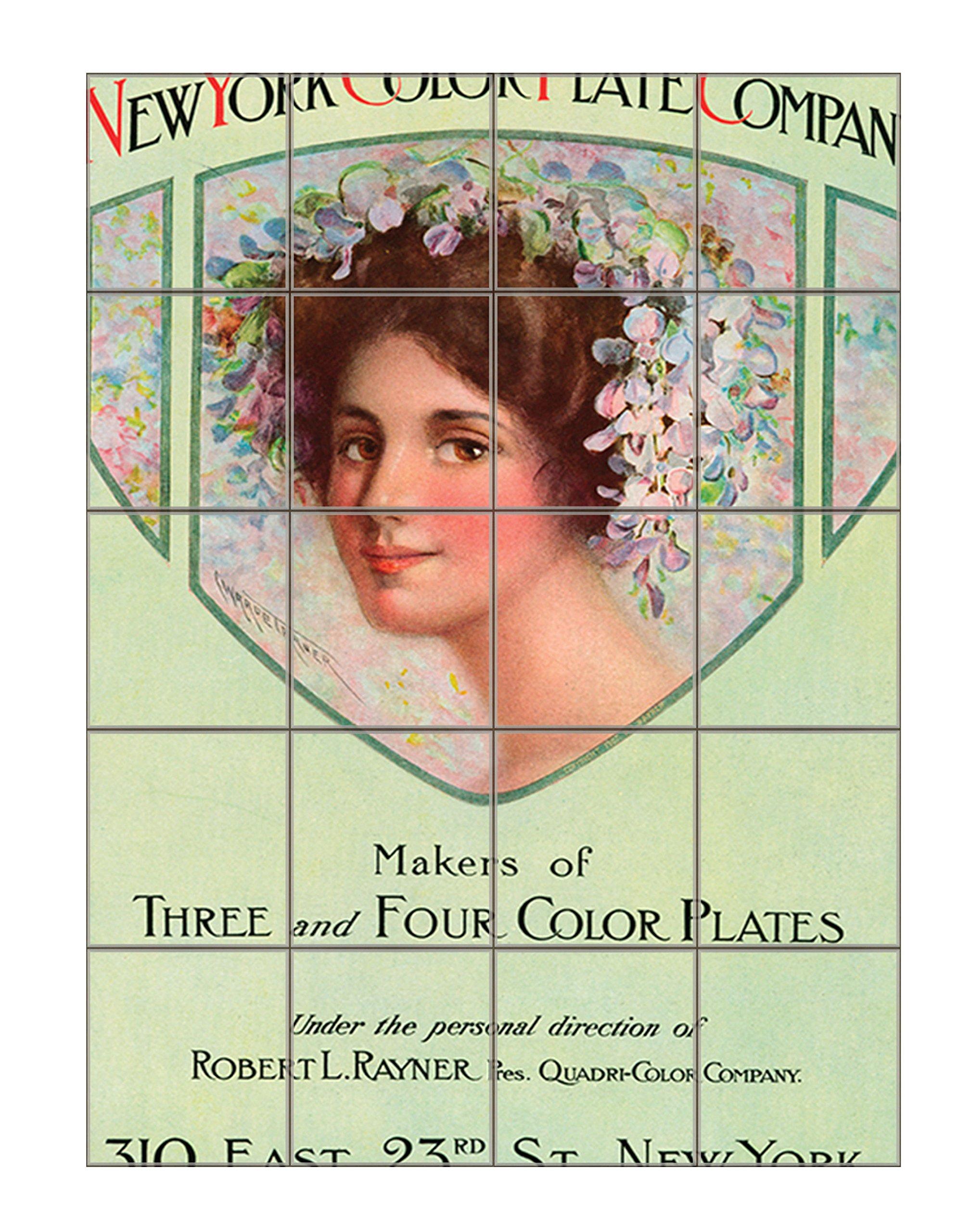 Maker Vintage Poster Vertical Tile Mural Satin Finish 20''Hx16''W 4 Inch Tile