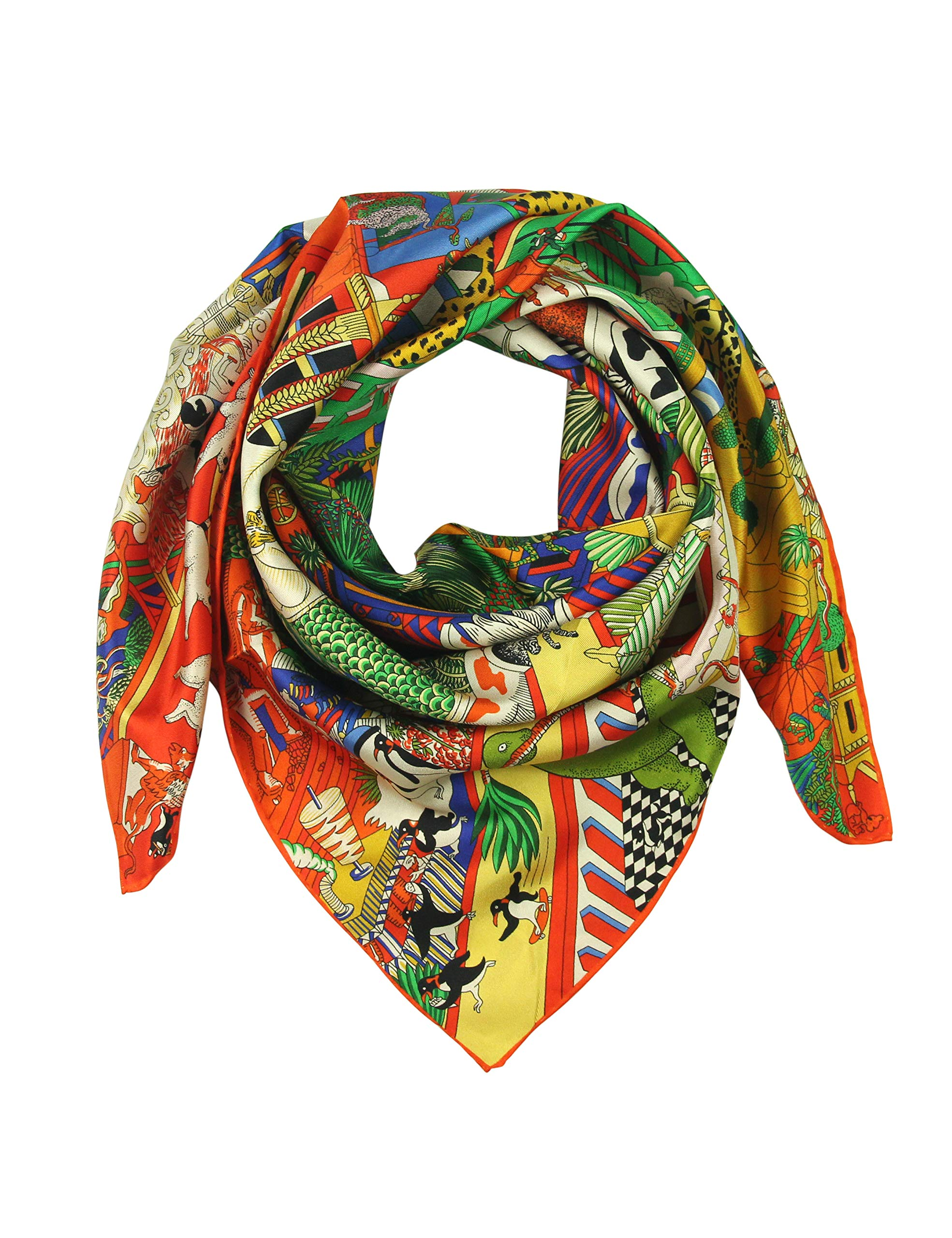 Silk Scarf Square Scarf for Hair Women-Pantonight 100% Pure Silk 14MM Hand Rolling Edge Silk Twill Scarf for Women (NO.412)