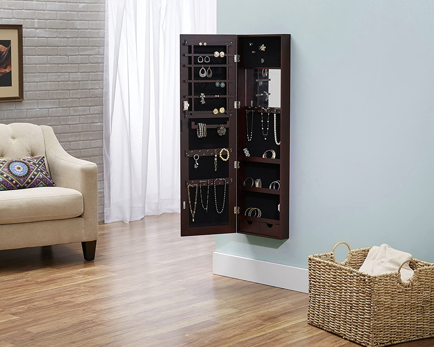 Amazoncom Deluxe Mirrored Jewelry Armoire Espresso