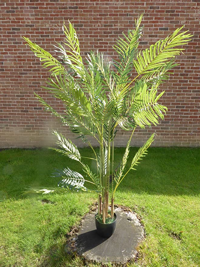 Uk Gardens Large 5ft Green Artificial Palm Tree 1 6m Artificial Palm Plant In A Pot Amazon Co Uk Kitchen Home