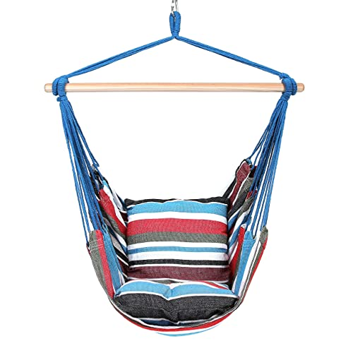 Blissun Hanging Hammock Chair, Hanging Swing Chair with Two Cushions, 34 Inch Wide Seat Cool Breeze