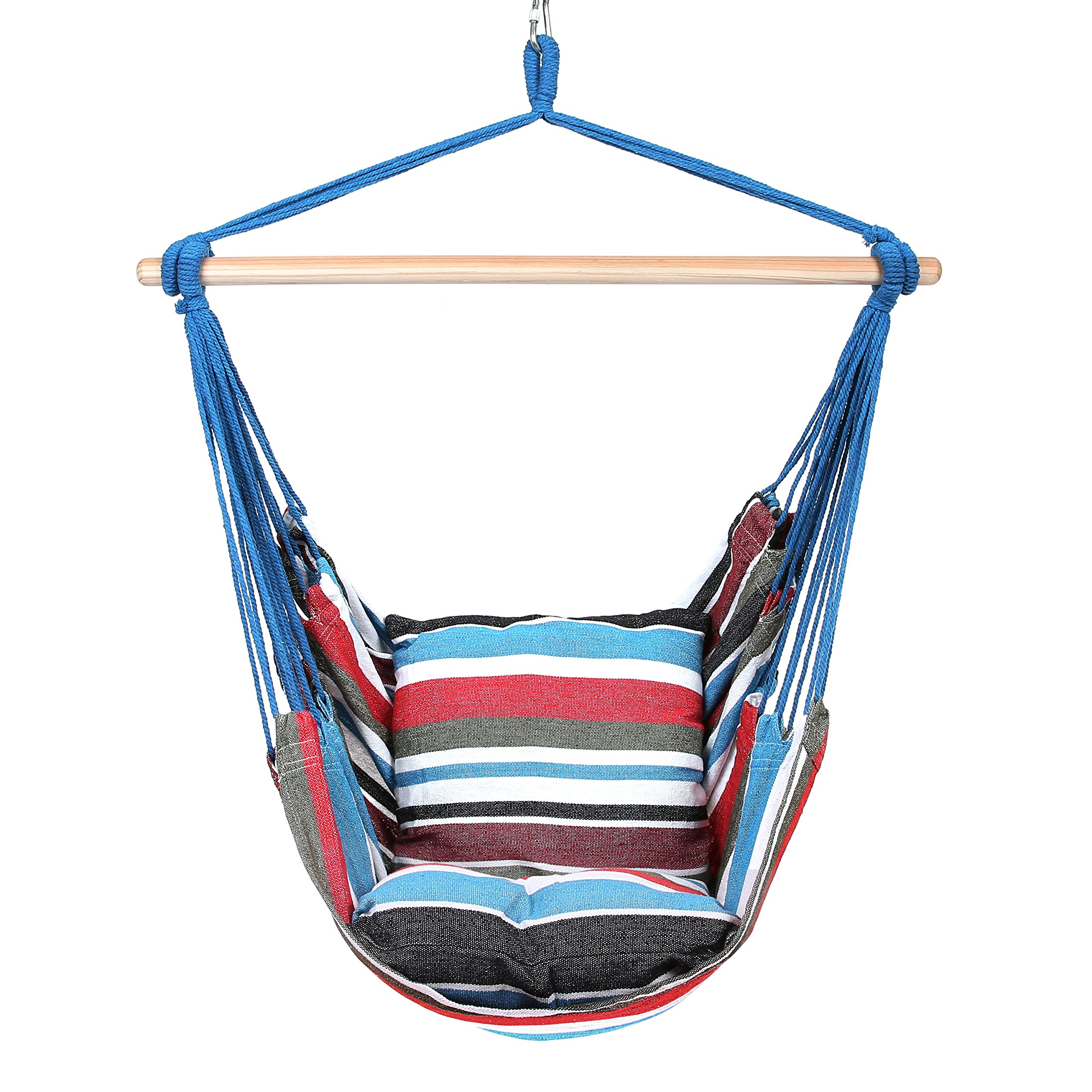 Blissun Hanging Hammock Chair, Hanging Swing Chair with Two Cushions, 34 Inch Wide Seat (Cool Breeze) by Blissun (Image #1)