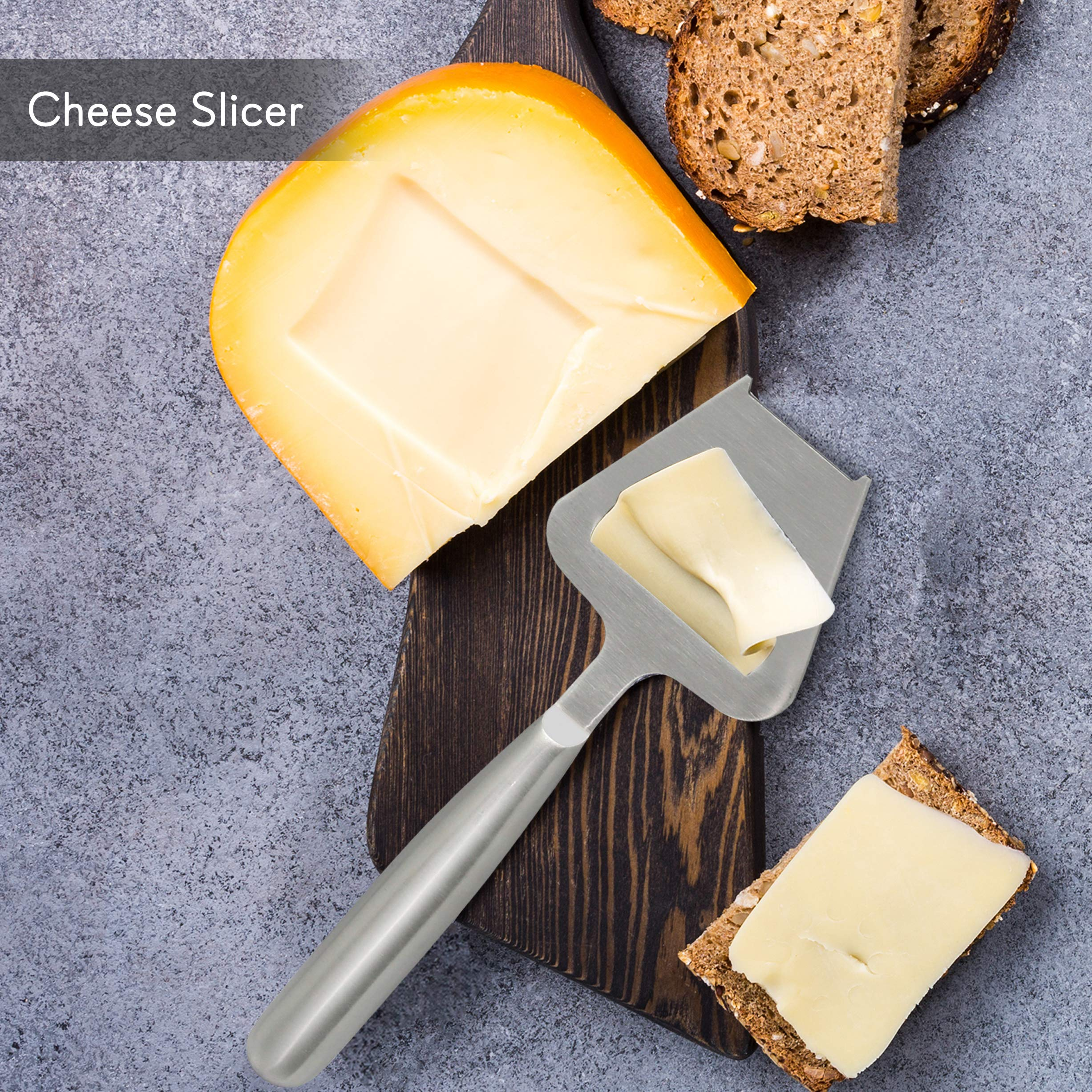 2 Piece Cheese Cutting Set - Portable Fancy Stainless Steel Non Stick Cheese Cutter Knife and Cheese Slicer - Cut, Shave, Slice, Serve, Spread - Gouda Blue Brie Parmesan Cheddar - NutriChef PKCNF10 by Nutrichef (Image #3)