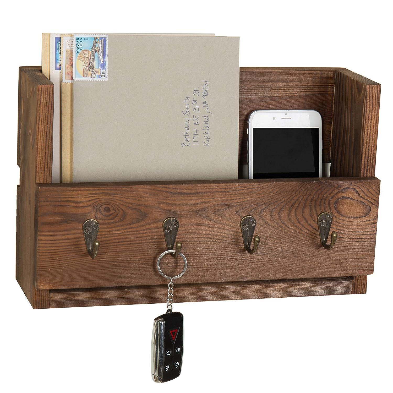 Amazoncom MyGift 4 Hook Rustic Wood Wall Mounted Key