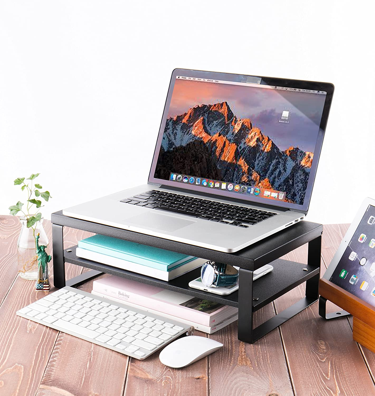 JackCubeDesign Supporto per monitor per laptop a 2 livelli Supporto per scaffale per computer Supporto per organizer per notebook da scrivania Supporto salvaspazio nero, 42,4 x 23,6 x 14 cm MK425A