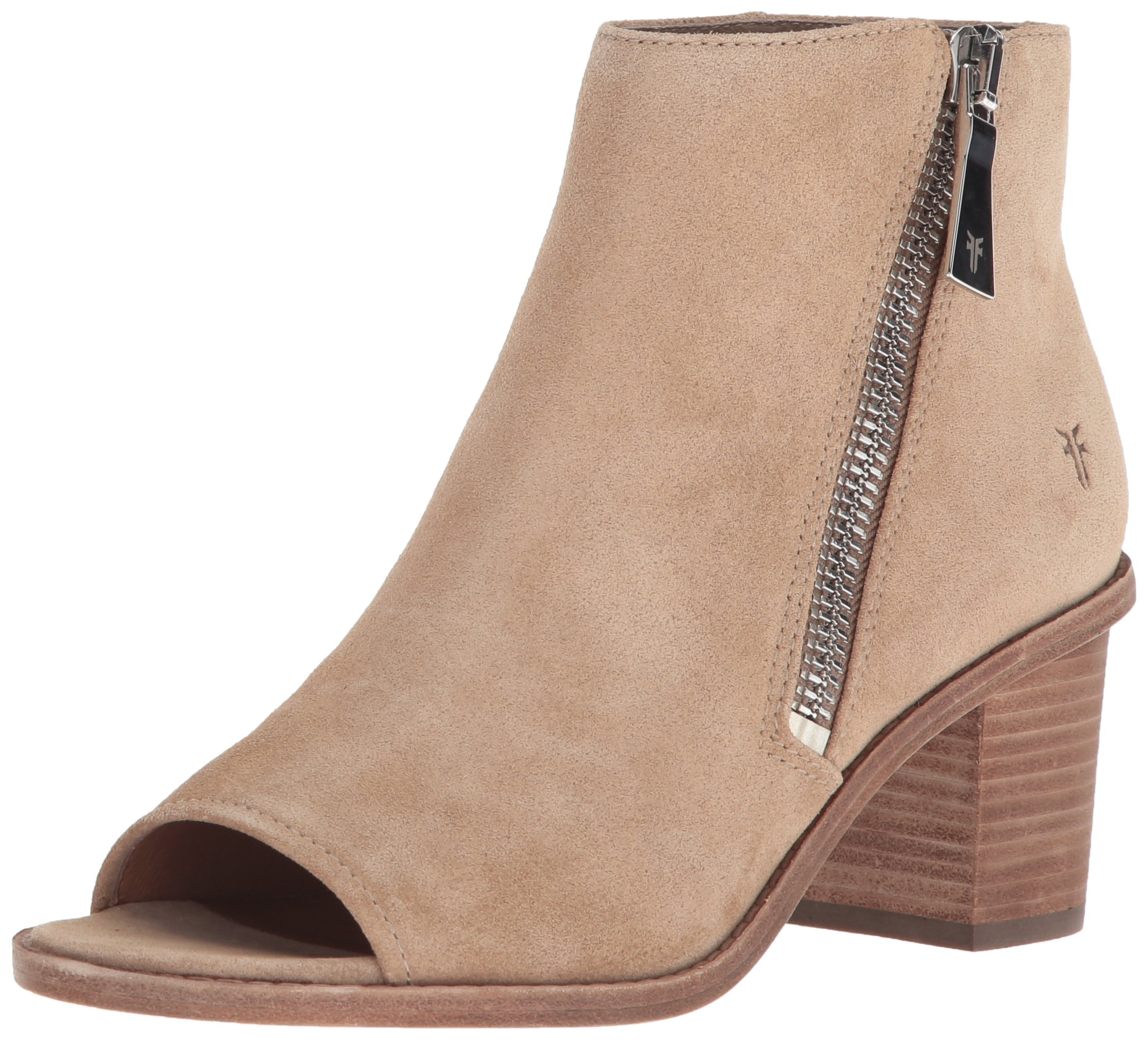FRYE Women's Brielle Zip Bootie Ankle Boot, Beige, 7 M US