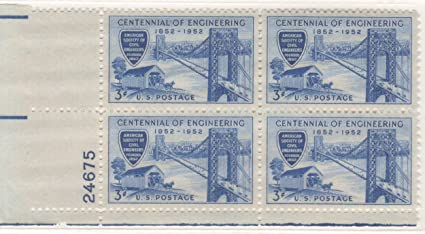 US 1952 Engineering Stamp 1012 Plate Block Of 4 Stamps