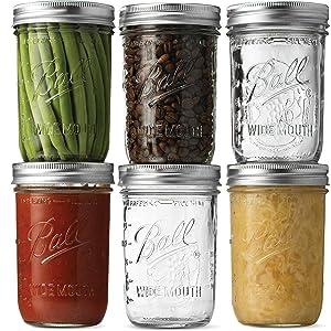 Ball Wide Mouth Mason Jars (16 oz/Pint capacity) 6 Pack - Microwave & Dishwasher Safe. + SEWANTA Jar Opener