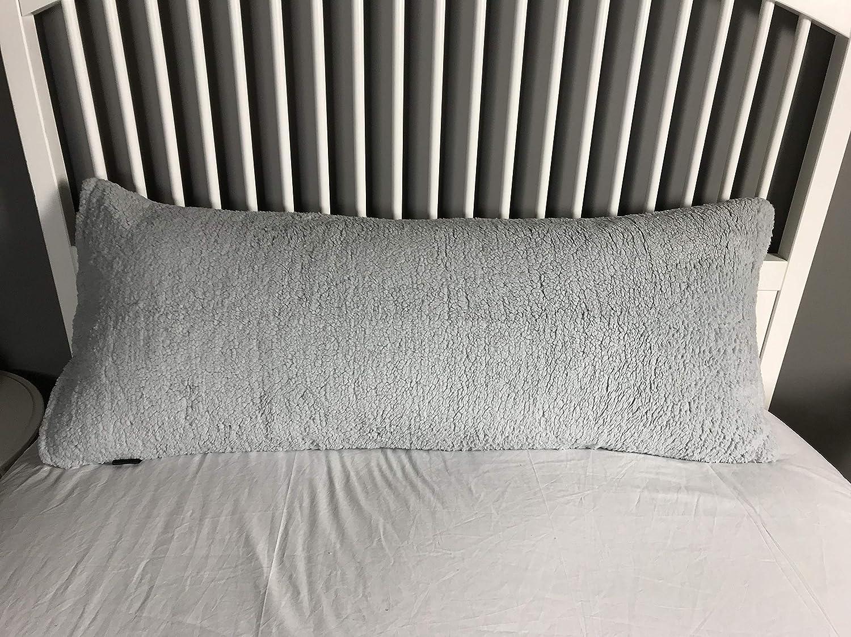Jennifer Davidson Teddy Bear Fleece Soft Long Body Bolster Nursing Support Pillow Cases Covers Nursing Neck Support Light Grey Single 3ft
