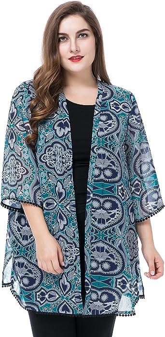 Chicwe Cardigans Rebecas Tallas Grandes Mujeres Kimono Kaftan Chaqueta Borde De Punto Azul Verde 44 Amazon Es Ropa Y Accesorios