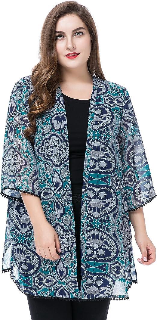 Chicwe Cárdigans Rebecas Tallas Grandes Mujeres Kimono