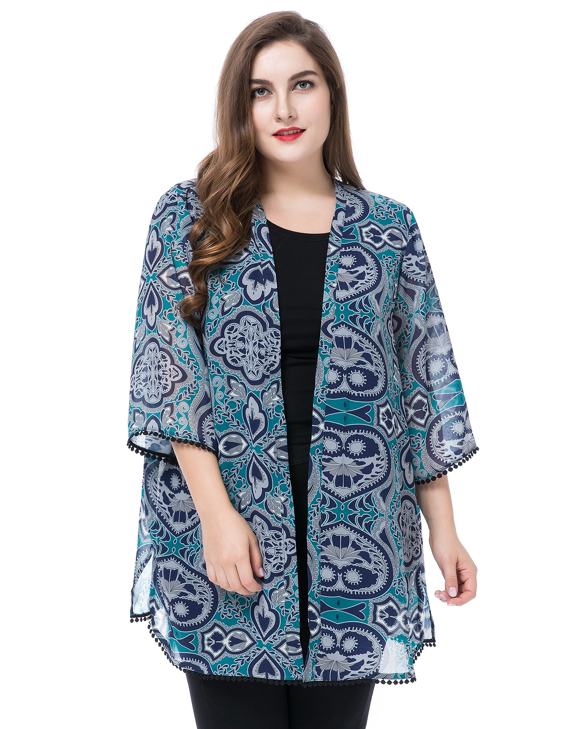 Chicwe Women's Plus Size Floral Printed Chiffon Summer Cover up with Trim Cuff & Hem- Kimono Kaftan Style Open Front Multi Teal 24