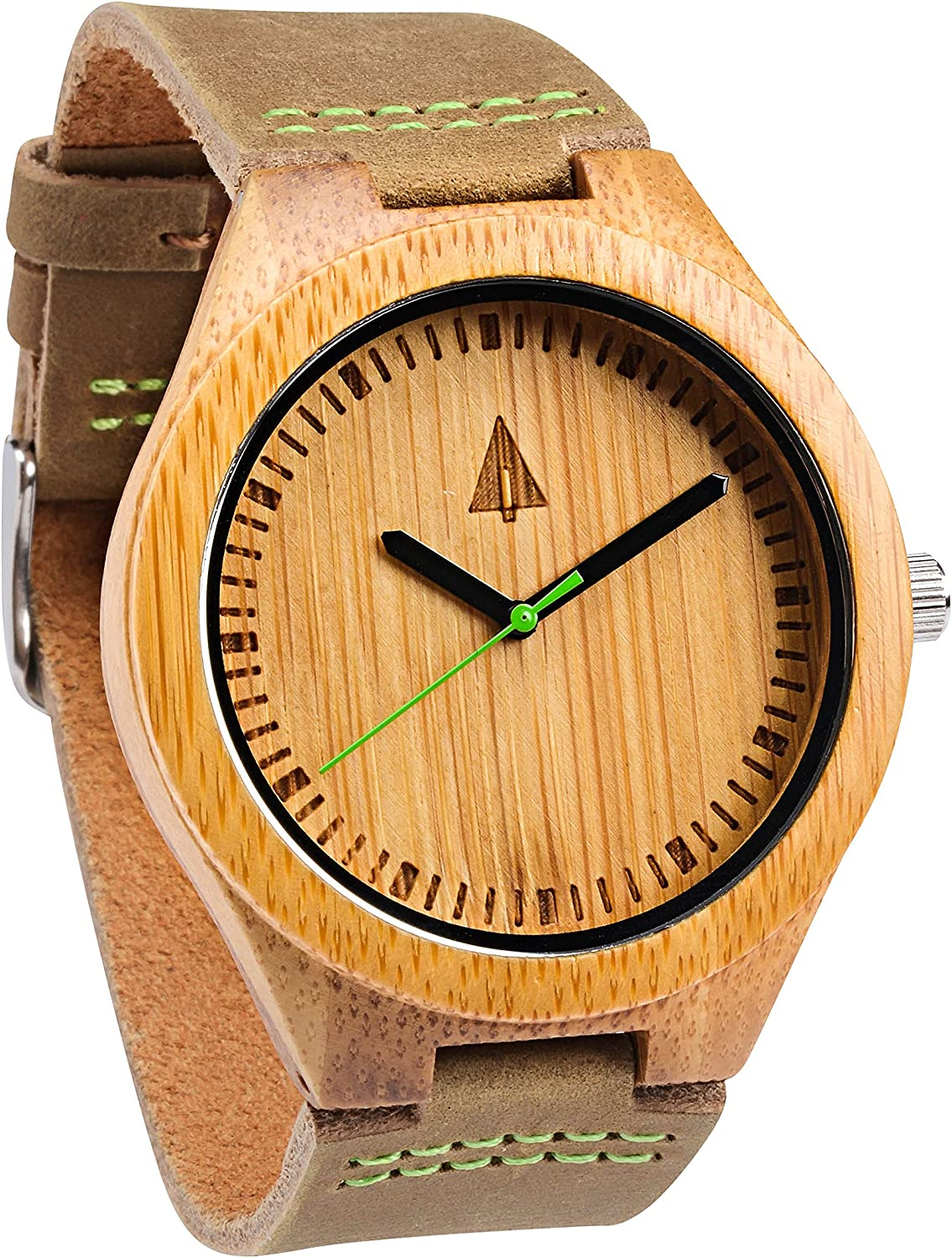 Treehut Mens Wooden Bamboo Watch with Genuine Brown Leather Strap Quartz Anal.
