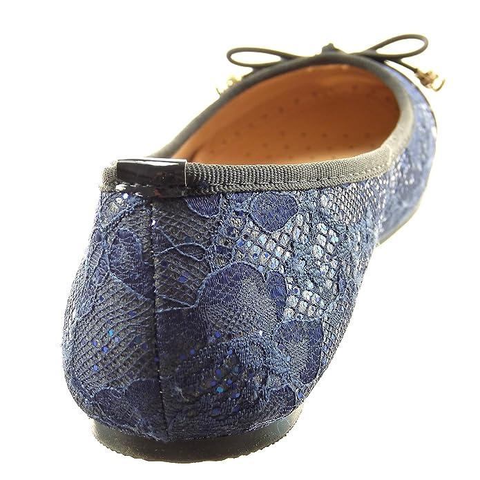 Sopily - Zapatillas de Moda Bailarinas Tobillo mujer patentes Talón Tacón ancho 0.5 CM - Azul CAT-5-SH204 T 37 z0qtYFcp