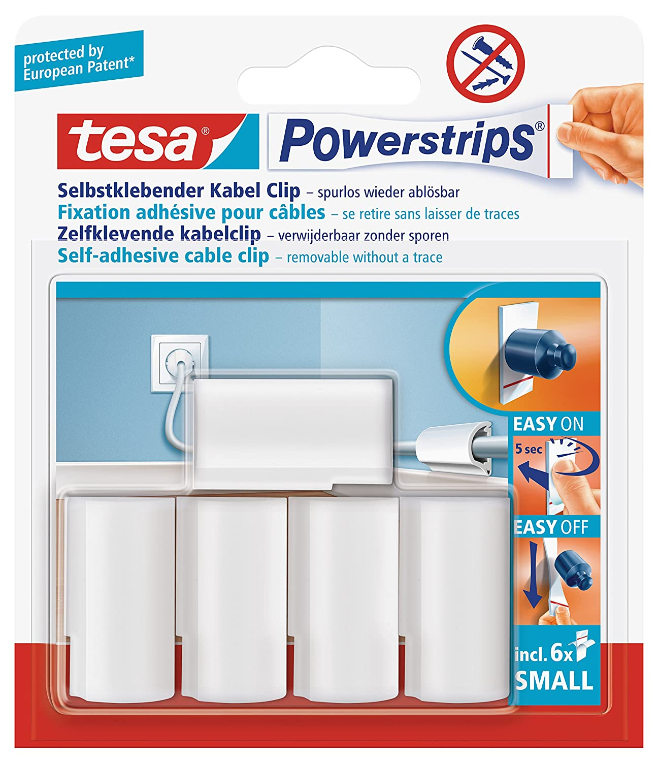 Hervorragend tesa UK Powerstrips Cable-Clip with Removable Adhesive Strips - 5  AE89