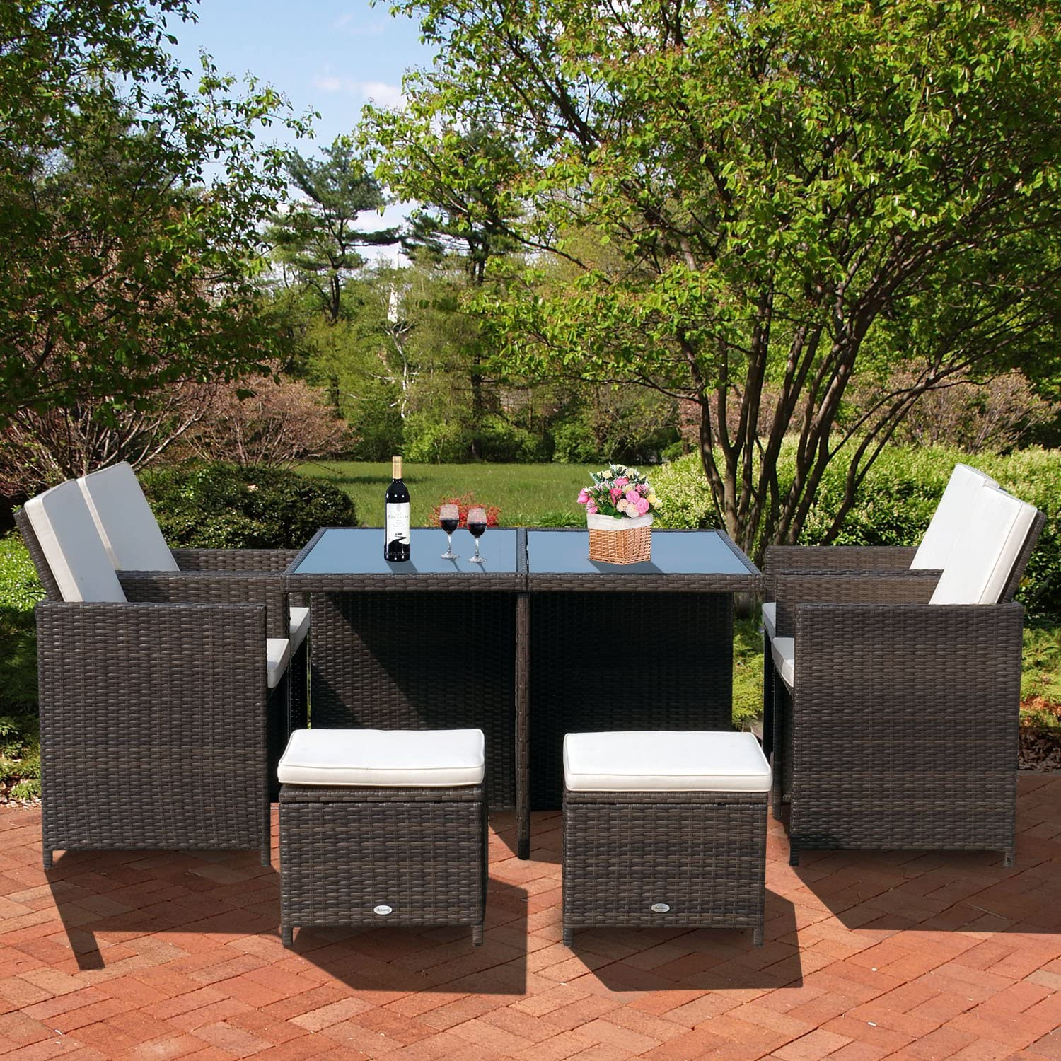 Outsunny 9pcs Rattan Dining Set Garden Wicker Sectional Sofa Set Outdoor Patio Furniuter All Weather Brown
