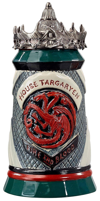 Game of Thrones House Targaryen Stein - 22 Oz Ceramic Base with Pewter Baratheon Crown Top Underground Toys SYNCHKG104064
