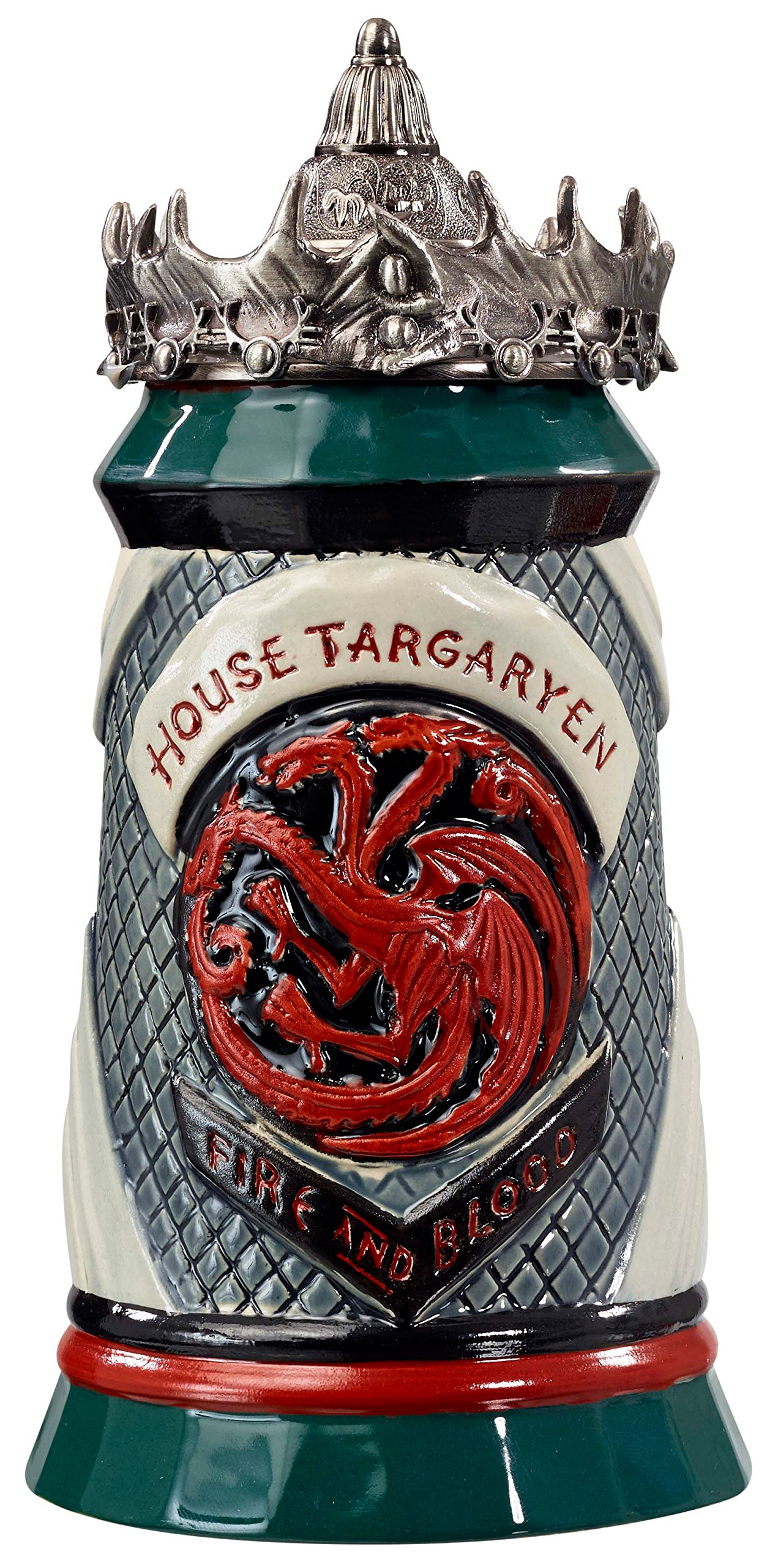 Game of Thrones House Targaryen Stein - 22 Oz Ceramic Base with Pewter Baratheon Crown Top