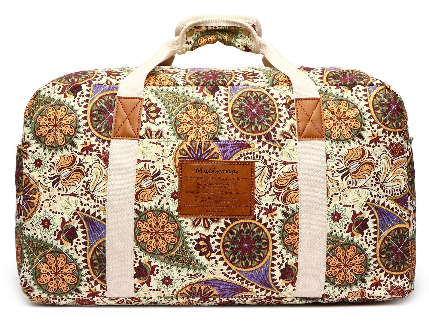 Malirona Canvas Weekender Bag Travel Duffel Bag for Weekend Overnight Trip (Yellow Flower) by Malirona (Image #2)