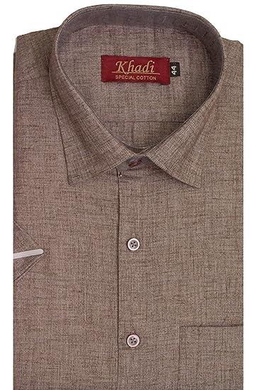b141f4692be1 Cotton Emporium Men s Half Sleeves Cotton Regular Fit Formal Shirt (Brown