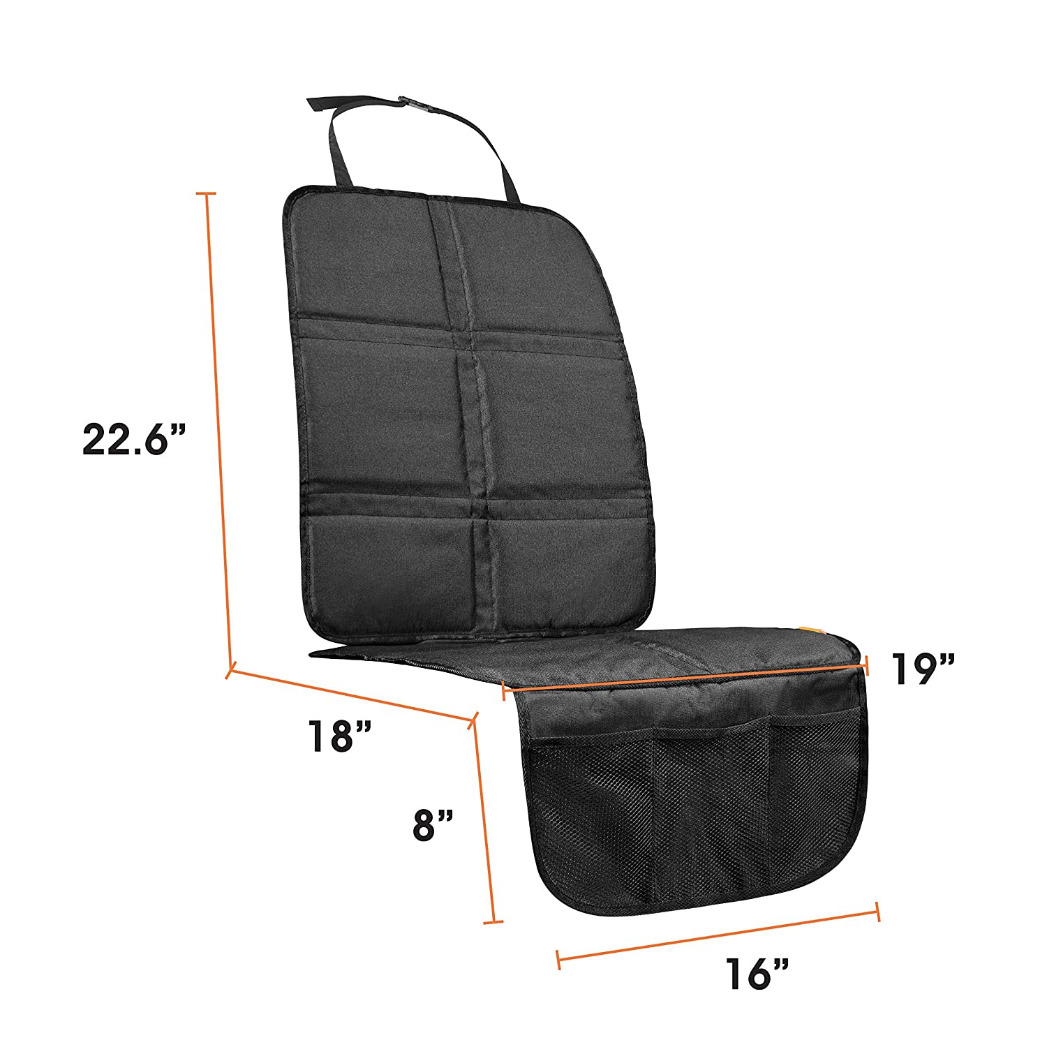 Baby Auto Cover Pad Booster Seat Protector with Organizer Pocket Waterproof Mat For Most Cars Truck INFANZIA Car Seat Protector SUV or Van