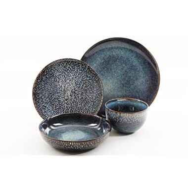 Gibson Elite 99839.16RM Matisse Double Bowl Dinnerware Set Reactive Stoneware (16 Piece), Cobalt Blue, 16pc,