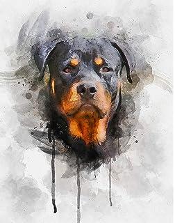 Rottweiler watercolor Print of the Original Watercolor Painting art  cool Rottie