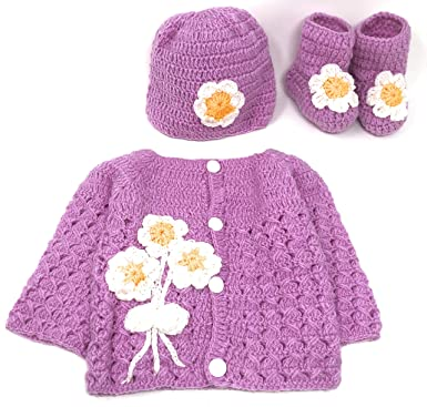 78db080d0cc Amazon.com  Hand Made 3 Piece Knitted Magnolia Flower Purple Baby ...