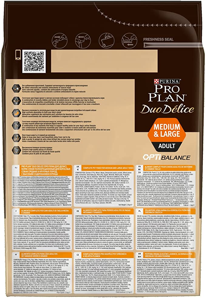 Purina ProPlan Duo Delice Medium pienso para Perro mediano Adulto Pollo 4 x 2,5 Kg