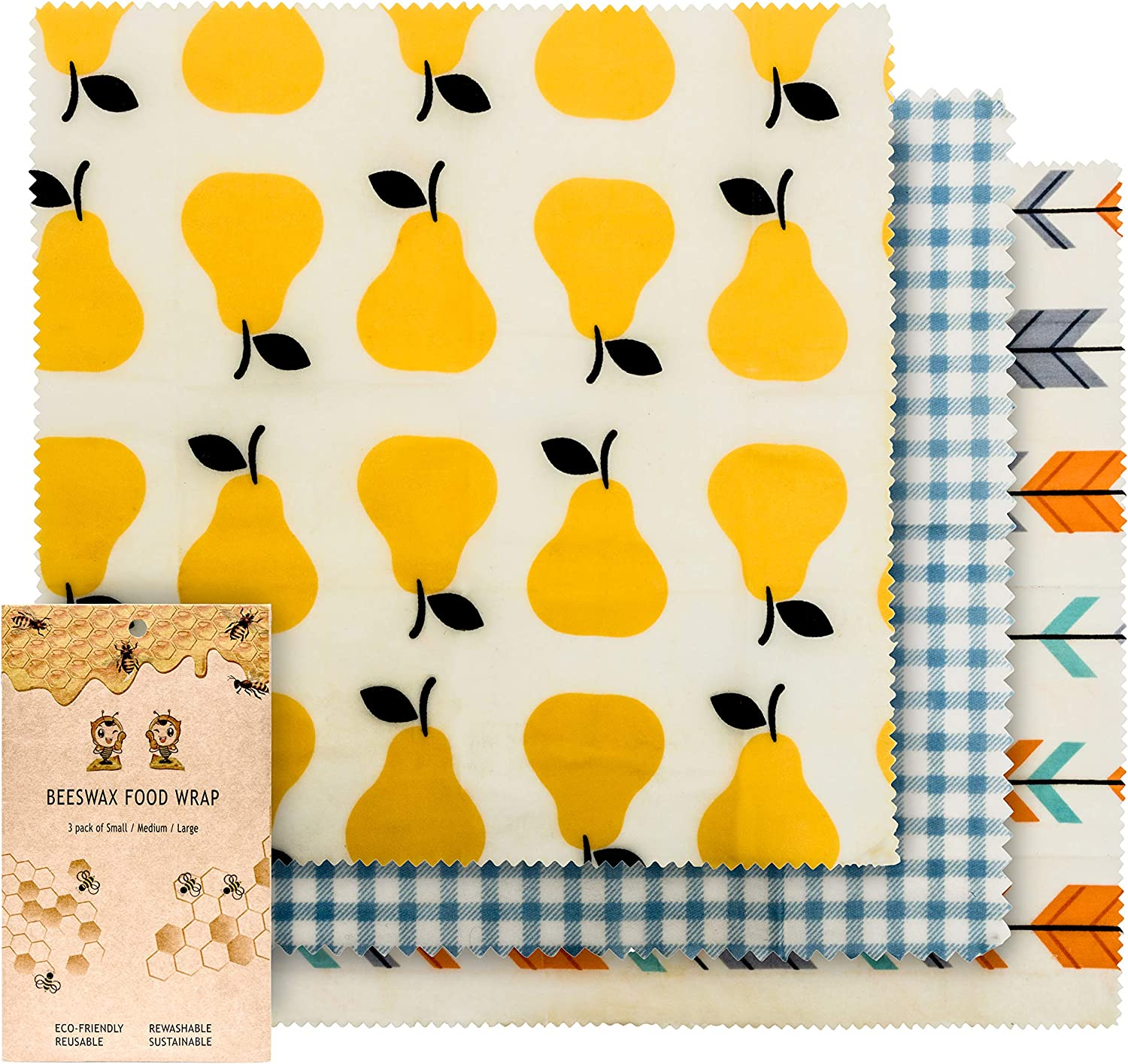 BusyBee Eco Friendly Beeswax Wrap Assorted 3 Pack – All Natural FDA Compliant Reusable Food Wrap – Store & Preserve Foods Without Plastic