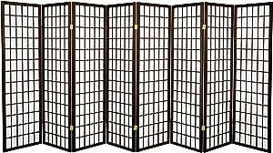Oriental Furniture 5 ft. Tall Window Pane Shoji Screen - Walnut - 8 Panels