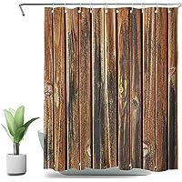 SVBright - Cortina de ducha de madera rústica estilo granja, color marrón occidental, 150 x 72 cm, diseño vintage, 12…