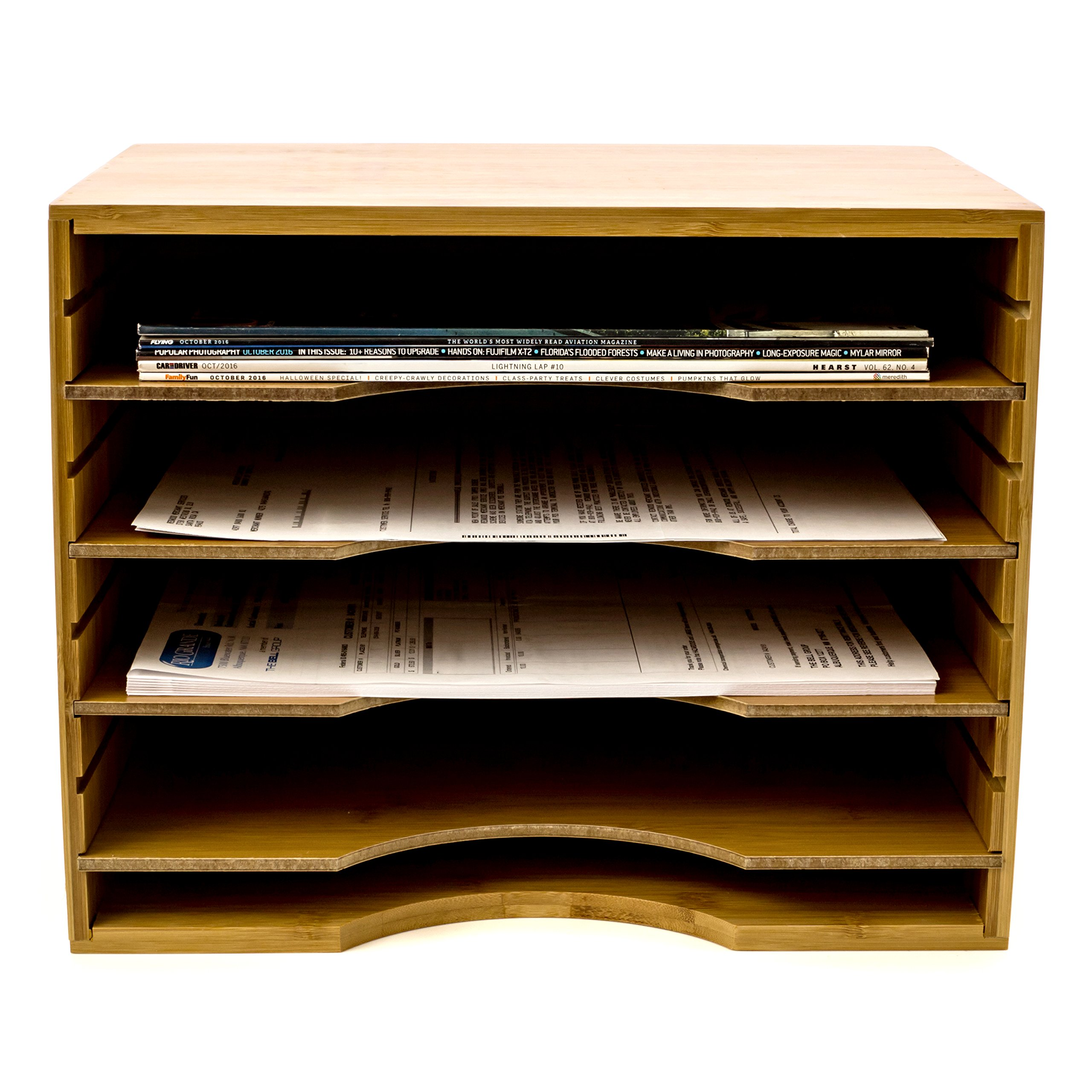 File Organizer Mail sorter, With Four Adjustable Dividers Natural Bamboo wood Color By Intriom Bamboo Collection (File Organizer) by Intriom (Image #3)