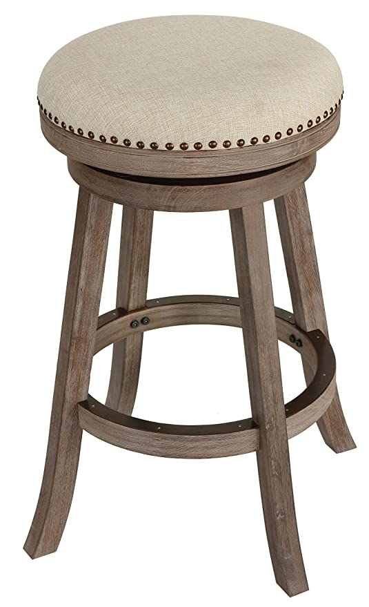 Superb Cortesi Home Piper Backless Swivel Bar Stool In Solid Wood Beige Fabric 30 H Gmtry Best Dining Table And Chair Ideas Images Gmtryco