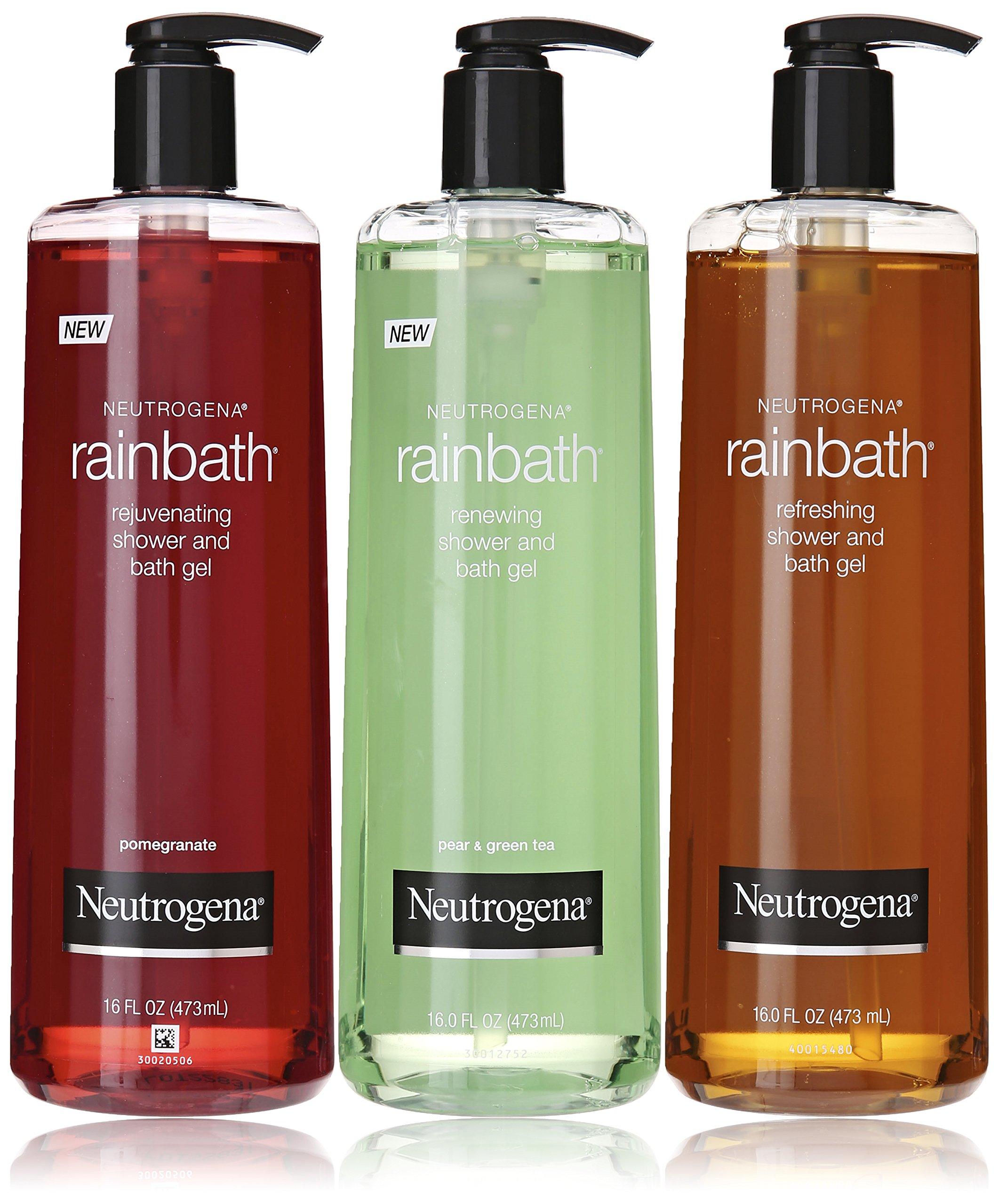 Neutrogena Rainbath Multi-pack of 3, 1 Original Formula, 1 Pomegranate and 1 Pear & Green Tea, 16 fl oz bottles