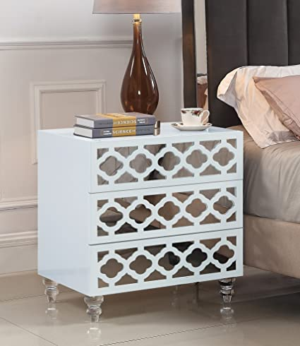 Iconic Home Bergamo Nightstand Side Table With 3 Self Closing Mirrored  Drawers Lacquer Acrylic Legs,
