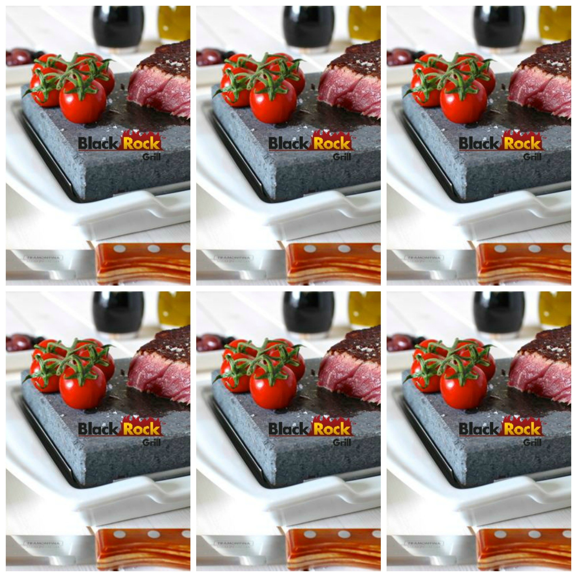 Steak Stone and Plate Set of 6