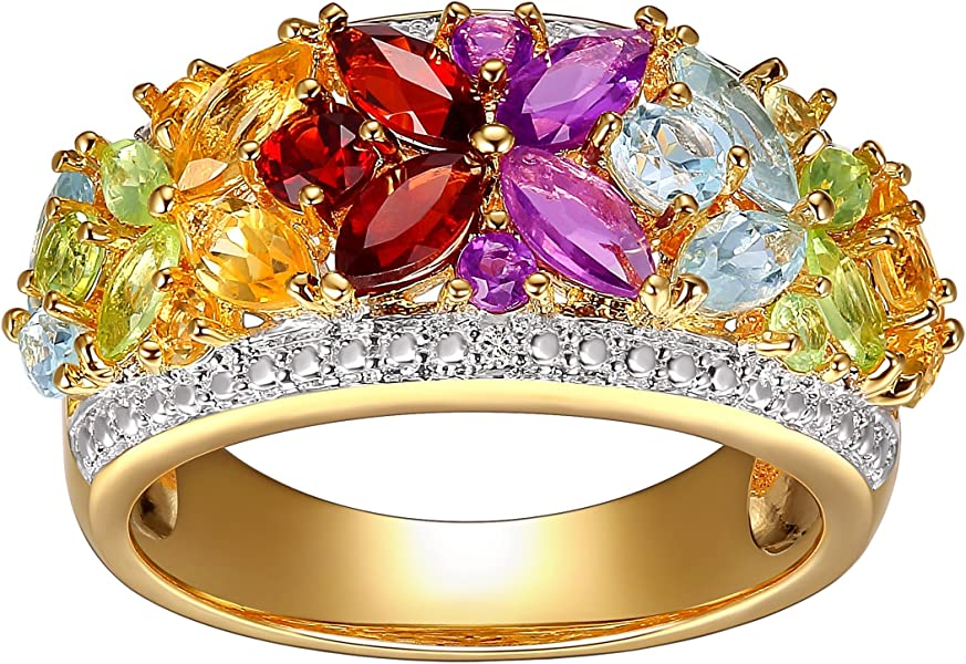 52dc130def691 2 ct Natural Multi Semi-Precious Stone Ring with Diamonds in 18K  Gold-Plated Sterling Silver