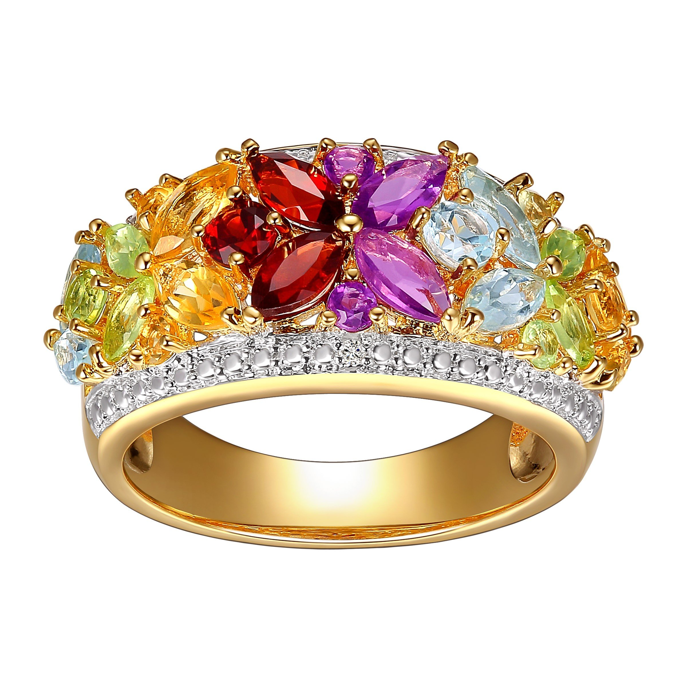 2 ct Natural Multi Semi-Precious Stone Ring with Diamonds in 18K Gold-Plated Sterling Silver Size 7