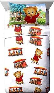 PBS Kids Daniel Tiger Trolley Ride 4 Piece White Full Sheet Set