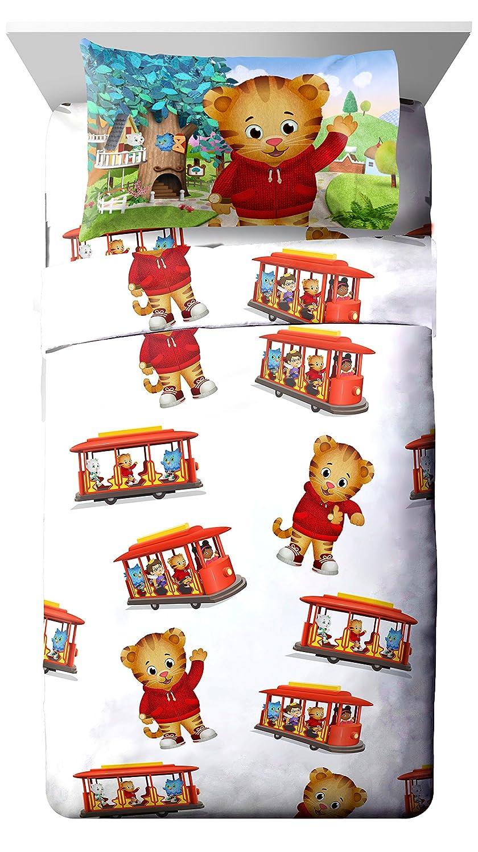 PBS Kids Daniel Tiger Trolley Ride 3 Piece White Twin Sheet Set