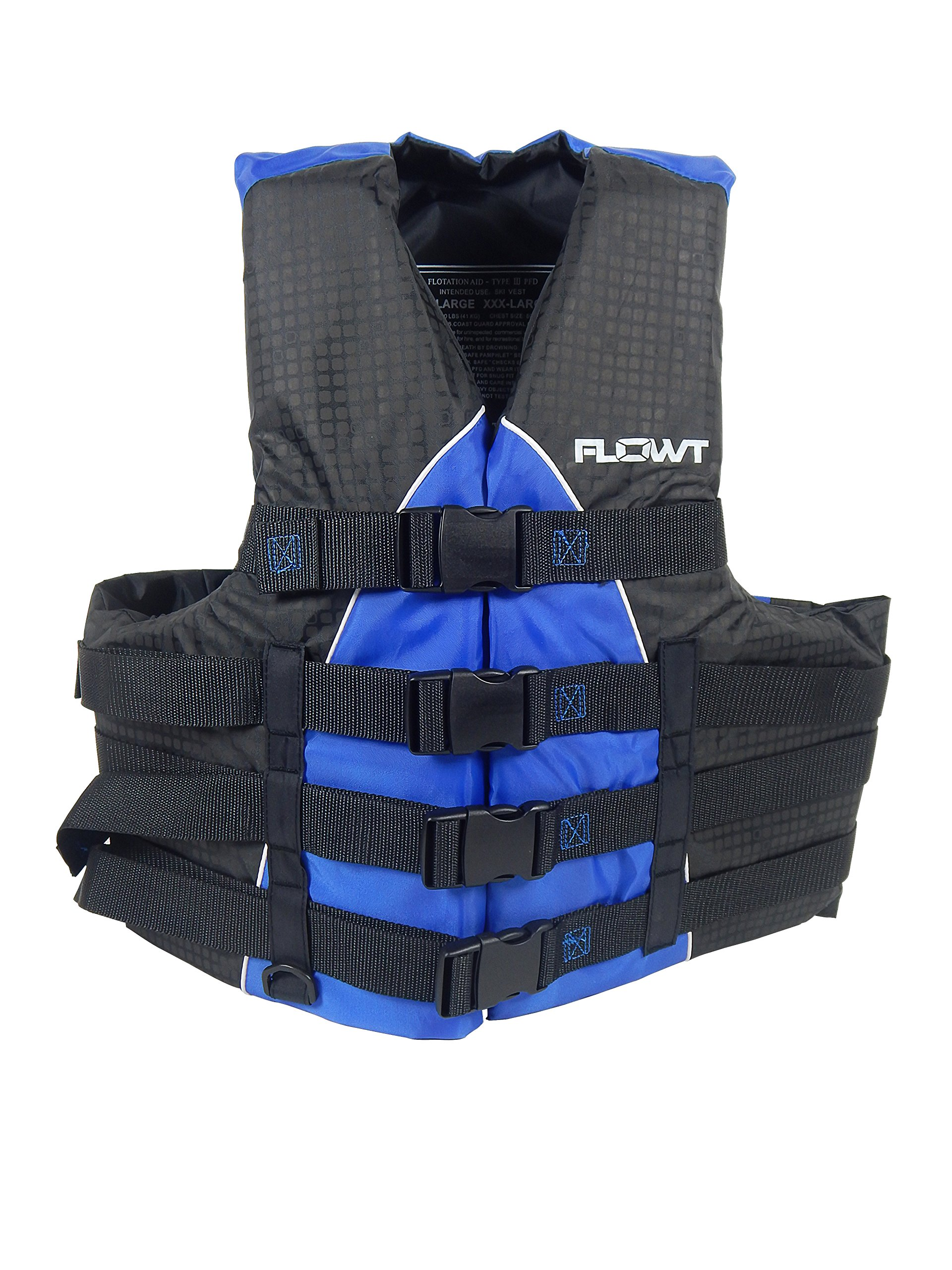 Flowt 40401-2-2X/3X Extreme Sport Life Vest, Type III PFD, Closed Sides, Blue, 2XL/3XL, Fits chest sizes 50'' - 60'' by Flowt