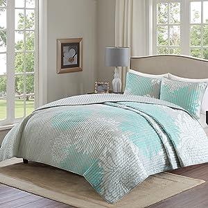 Comfort Spaces Enya 3 Piece Quilt Coverlet Bedspread Ultra Soft Floral Printed Pattern Bedding Set, King, Aqua-Grey