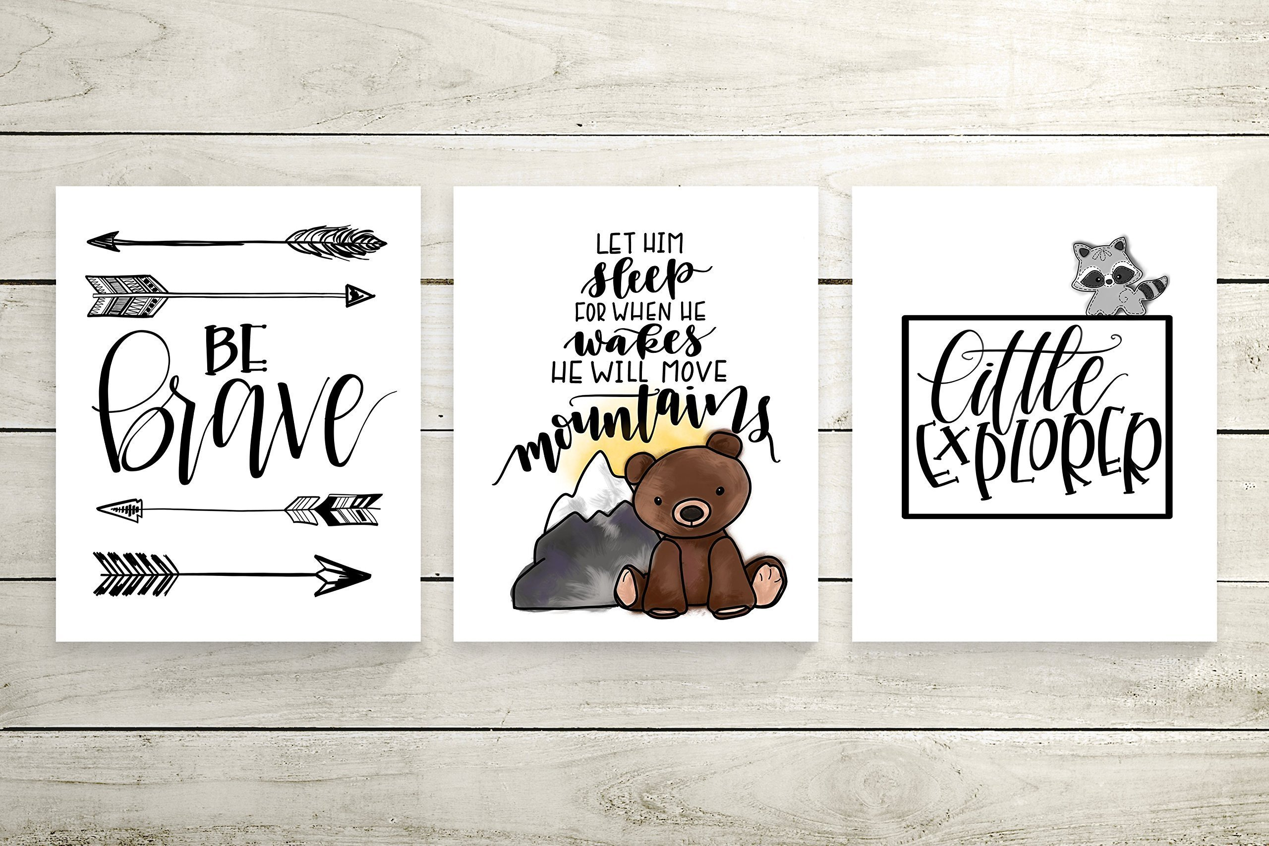 Set of 3 Brave Explorer Woodland Animal Nursery Cardstock Prints - 8.5 x11'' Be Brave, Let Him Sleep, Little Explorer by June & Lucy