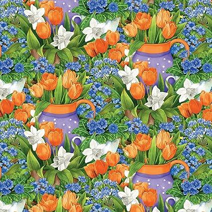 Amazon.com: Garden Gatherings -Green/Orange Flower Garden- by Jane ...