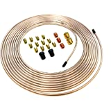 """25 Feet of 3/16 Inch (4.75 mm) Copper Nickel Brake Line (.028"""" Wall Thickness) with Fittings"""