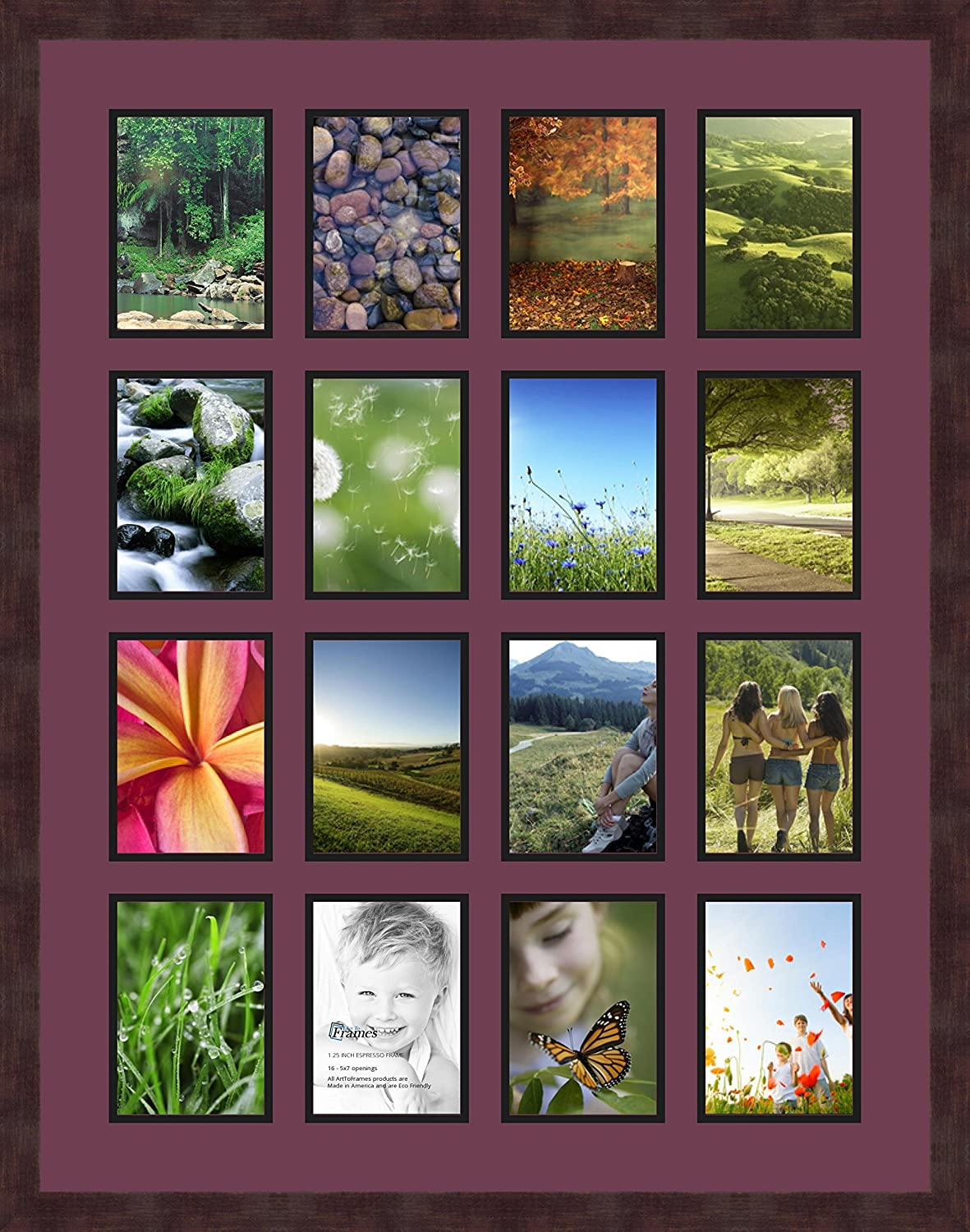 Art to Frames Double-Multimat-802-815//89-FRBW26061 Collage Frame Photo Mat Double Mat with 13-5x7 Openings and Espresso Frame
