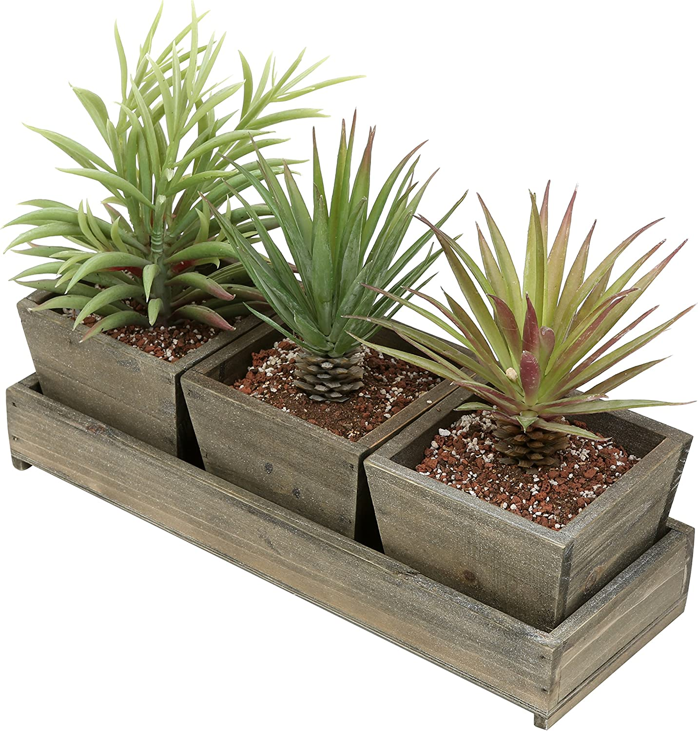 Windowsill Flower Pots Country Rustic Brown Wood Succulent Planters Set of 2