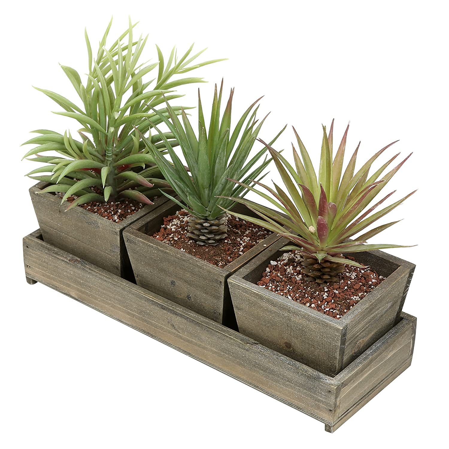 MyGift Set of 3 Rustic Brown Wood Succulent Planter Square Pots w/Tray